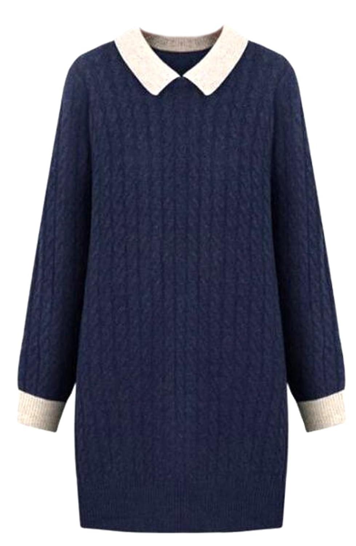 WANSHIYISHE Women Beautiful Plus Size Lapel Pullover Knitted Sweater