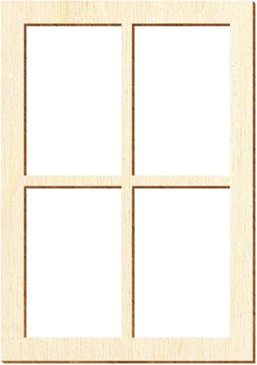 Holz Fenster eckig Fenster:Modell 16 Deko Modellbau Gr/ö/ßenauswahl Gr/ö/ße:110 x 77mm