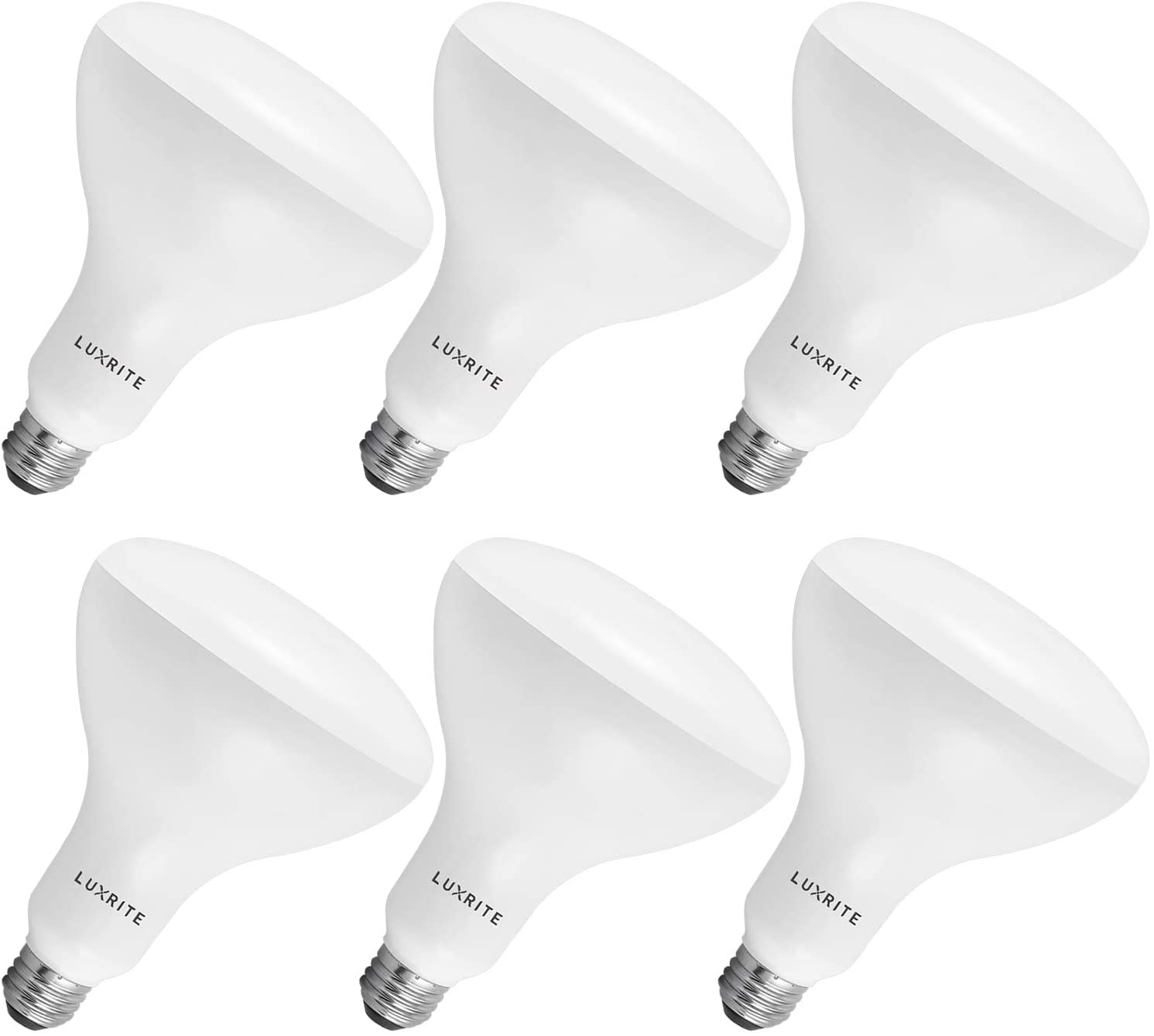 Luxrite BR40 LED Light Bulbs, 85W Equivalent, 6500K Daylight White, Dimmable, 1100 Lumen, LED Flood Light Bulb, 14W, E26 Medium Base, Indoor/Outdoor - Perfect for Office and Recessed Lighting (6 Pack)