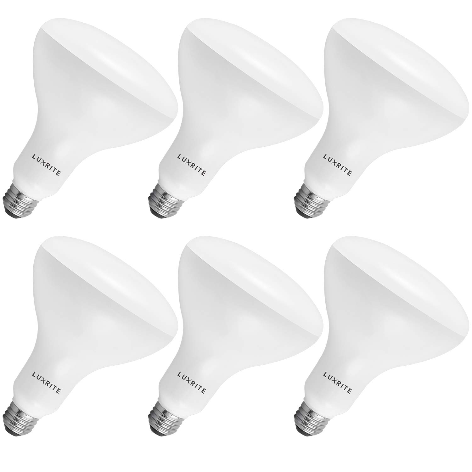 Luxrite BR40 LED Light Bulbs, 85W Equivalent, 3500K Natural White, Dimmable, 1100 Lumens, LED Flood Light Bulb, 14W, E26 Medium Base, Indoor/Outdoor - Perfect for Office and Recessed Lighting (6 Pack)