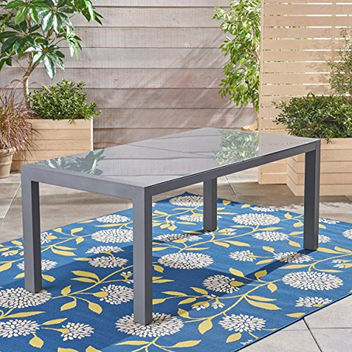 Great Deal Furniture 305660 Eli Outdoor Tempered Glass Dining Table with Aluminum Frame, Gray
