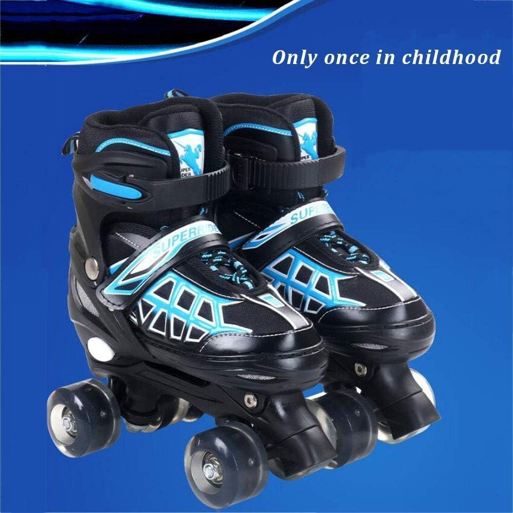 ライトアップホイール付き調整可能なクワッドローラースケートブーツ初心者ローラー楽しい子供のための点滅するローラースケート男の子と女の子2色と2サイズで利用可能 2月の春のそよ風 (Color : 青, Size : S) 青 Small