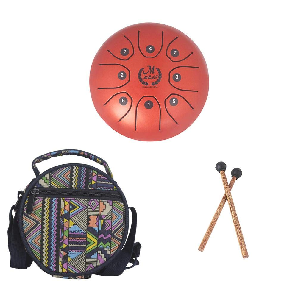 MMBAT5.5InchMiniSteelTongueDrumHandpanBrahmaDrum Hang Drum Tank Drum Steel Percussion with Padded Travel Bag and Rubber Musical Mallet