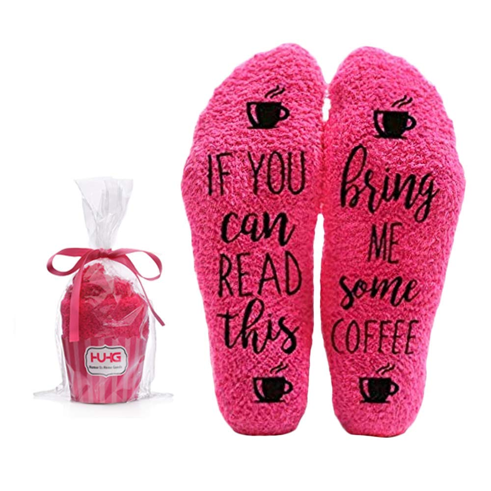 Wife Friend or Grandma Novelty Cupcake Packaging for Her Bring Me Coffee Fuzzy Pink Socks Birthday Gift Idea for Women Mom 1 Pair Christmas Stocking Stuffers Sister