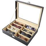 Siveit 8 Slot Sunglass Organizer Leather Eyeglasses Collector Eyewear Display Case Storage Box, Black