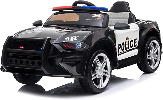 ES-TOYS Niños Coche Eléctrico Diseño Policial 07 Luces de Policía Sirena MP3 USB, Amortiguador de Choque: Amazon.es: Juguetes y juegos
