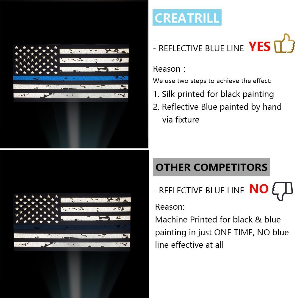 Hard Hat 5 x 2.7 inch American USA Flag Bumper Sticker Honoring Police Law Enforcement Holsteray Trucks Creatrill Reflective 2 Pairs Tattered Thin Blue Line Reverse Forward US Flag Decal Stickers for Cars