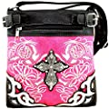 Embroidered Western Rhinestone Cross Messenger Bag Cross Body Purse
