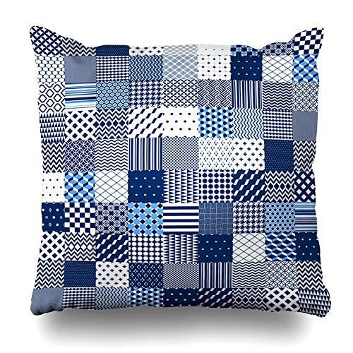 - Ahawoso Throw Pillow Cover Square 16x16 Inches Dot Navy Checkered Blue White Patchwork Quilted Scallop Geometric Abstract Circle Craft Creative Dark Cushion Case Home Decor Pillowcase