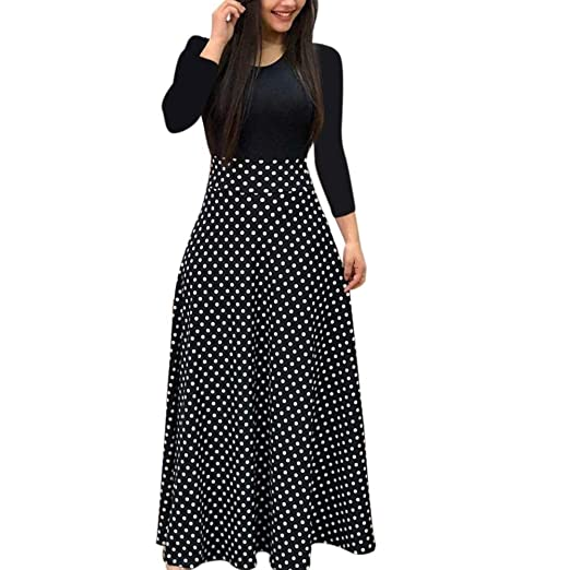 Amazon Com Photno Womens Dress Casual Elegant Floral Dot Print Long