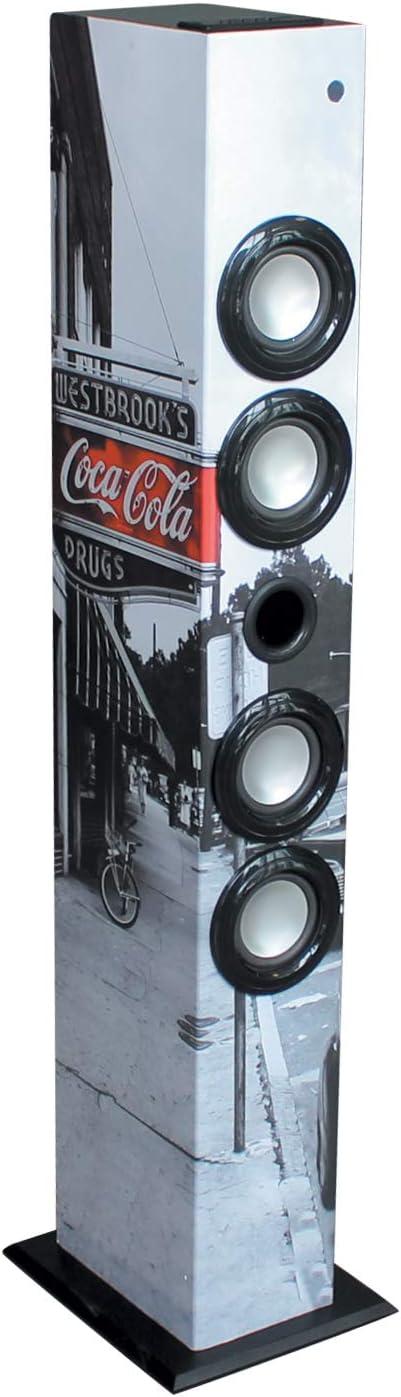 Metronic 477590 - Torre de Sonido Bluetooth Columna Coca Cola 64w, Toma para Tarjeta SD, Toma USB, Radio FM, Toma Jack 3.5mm, Mando a Distancia westbrook's Coca-Cola.