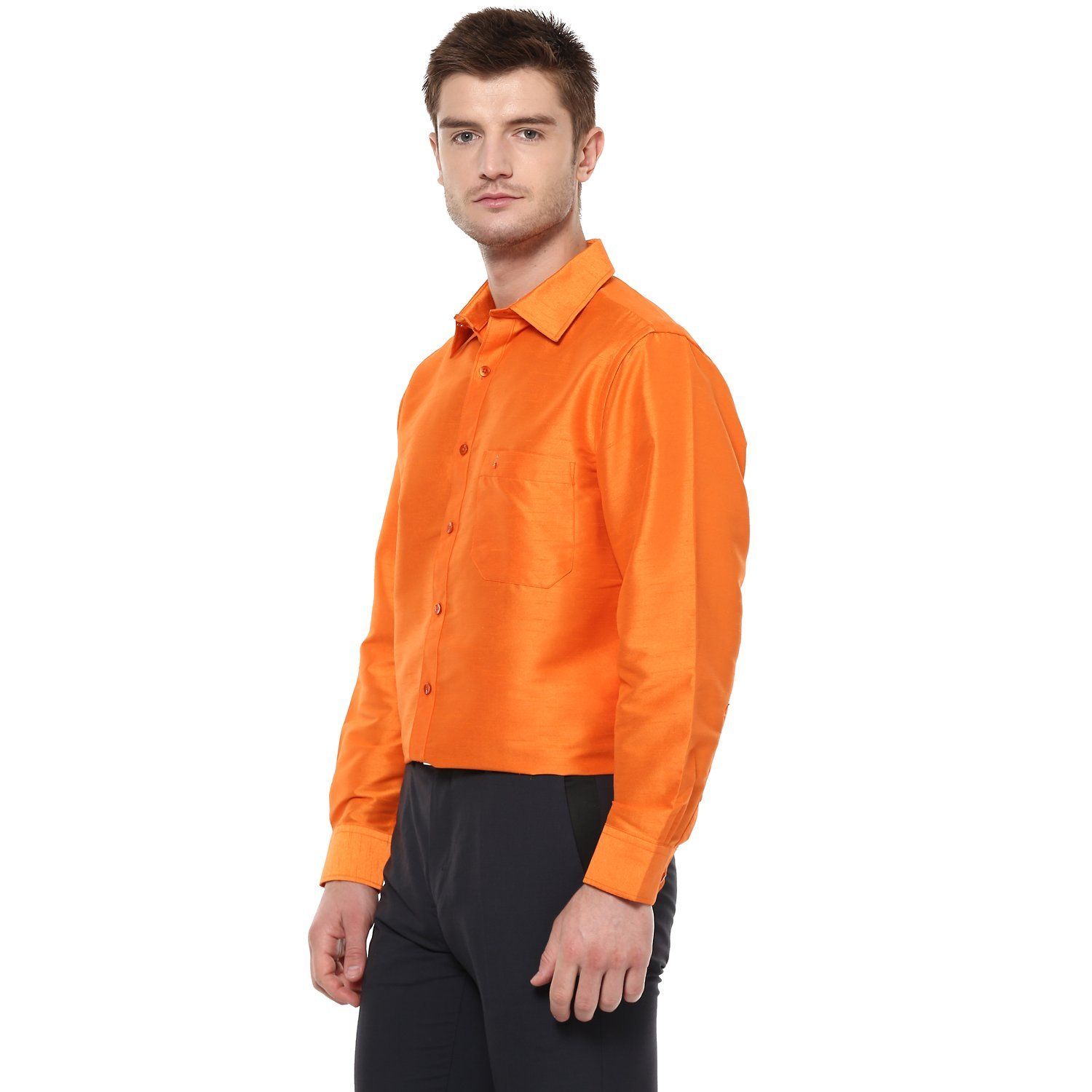 9d44f49904dfc Khoday Williams Men Poly Silk Plain Solid Half Sleeve Regular Fit Casual  Formal Shirt Orange M  Amazon.in  Clothing   Accessories
