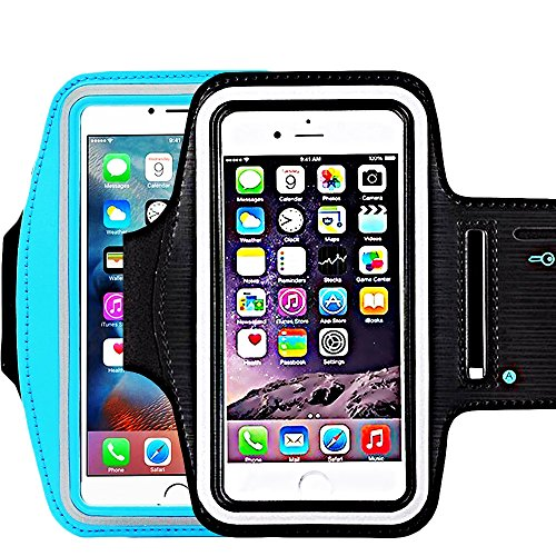 - CaseHQ [2pack] Water Resistant Sports Armband with Key Holder and Night Reflective for iPhone X 8 Plus 7 Plus, 6 Plus, 6S Plus,Galaxy S9, S9+,s8,s8+,S6/S5, Note 4 etc.Running Exercise (Black+SkyBlue)