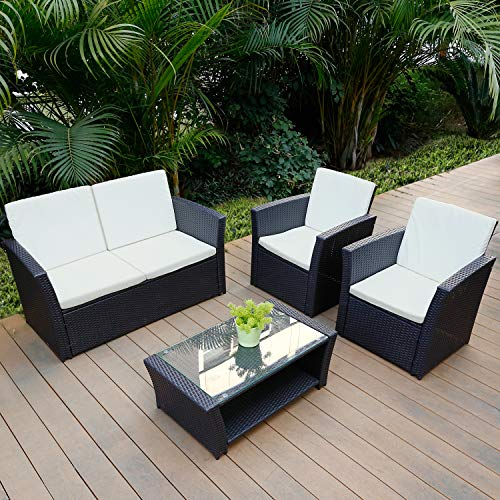 TUSY 5pcs Outdoor Patio Furniture Sets, High Back Rattan Chair Sectional Sofa and Coffee Table, Backyard Pool Garden Conversation Set, Beige Cushions