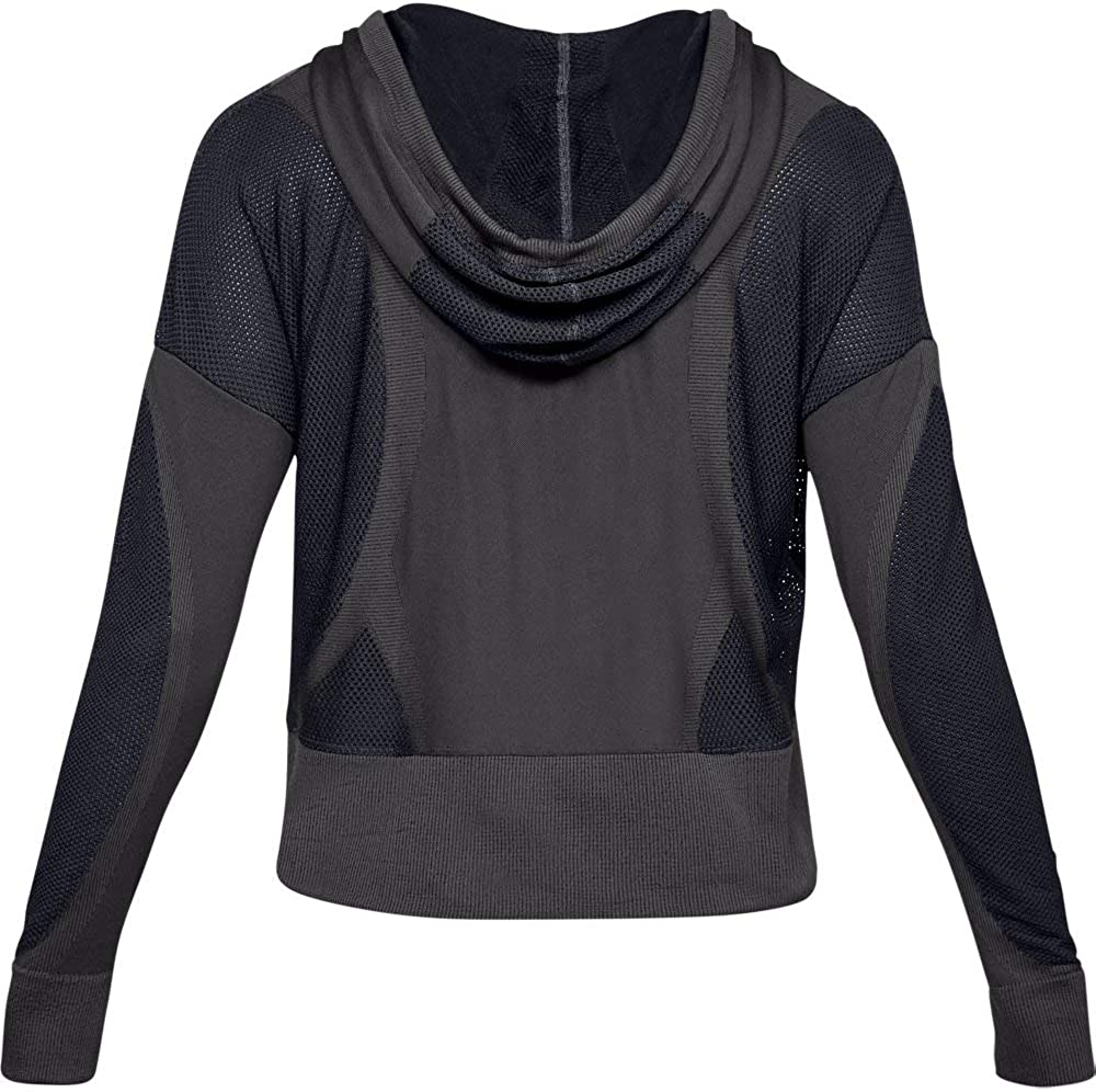 Jet Gray//Black//Metallic Silver 010 Under Armour Womens UA Vanish Seamless Hoody Warm-up Top X-Small
