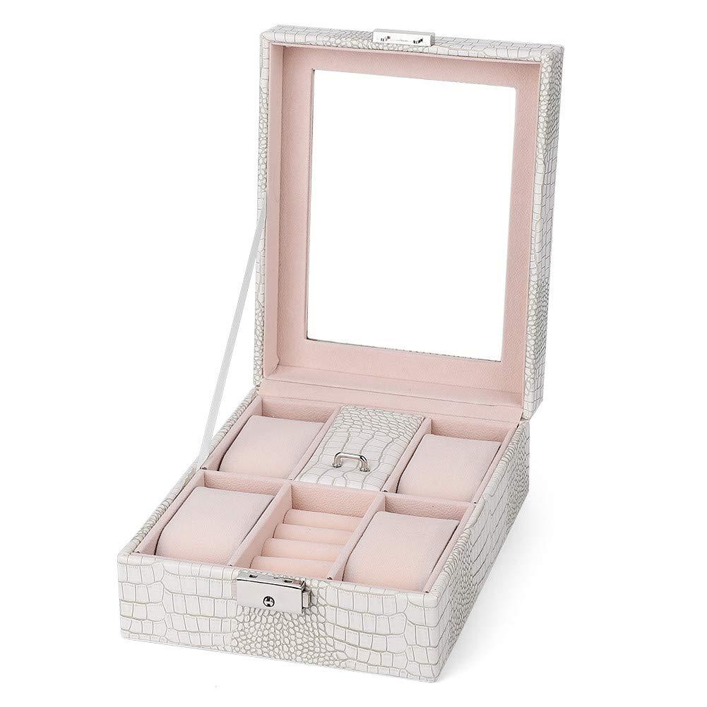4 Girds Caja de Almacenamiento de Relojes, Estuche de Joyeria PU para Organizador y Exhibición(Blanco): Amazon.es: Belleza