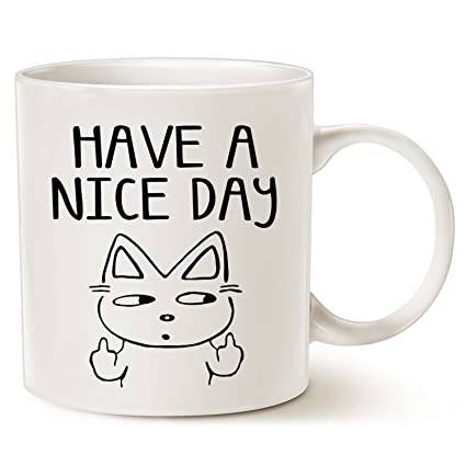 funny fathers day and mothers day cat coffee mug for cat lovers have a nice