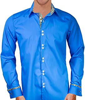product image for Blue with Gold French Cuff Designer Dress Shirts - Made in USA