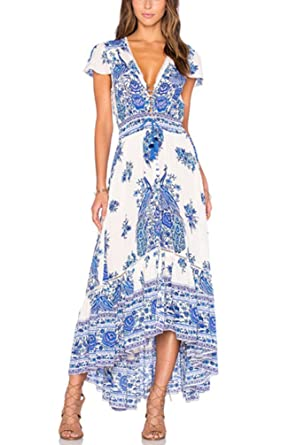 1242874d191f17 Maxikleid Damen Kleid Lang Elegant Kurzarm V Ausschnitt High Waist Retro  Joker Hippie Boho Blumen Muster Lange Kleider Strandkleider Sommerkleider:  ...