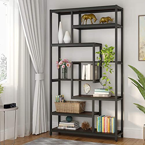Tribesigns 8-Shelves Staggered Bookshelf, Rustic Industrial Etagere Bookcase for Office, Vintage Book Shelves Display Shelf Organizer for Home Garden