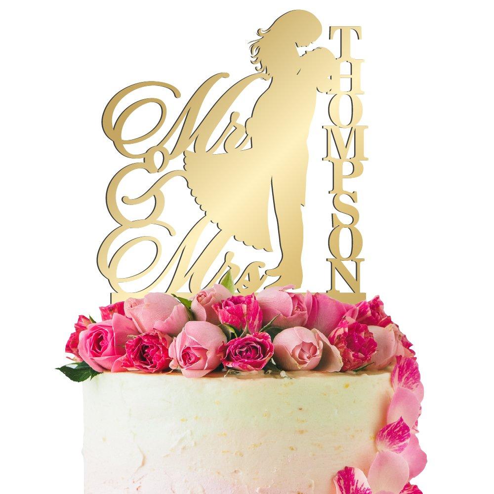 Amazon.com: Personalized Wedding Cake Topper Customized Mr. and Mrs ...