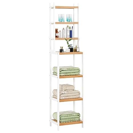 4ef743ffe3e8 Homfa Estanterías separadas Bambú para baño con 7 niveles (4 grandes y 3  pequeños) (Bambú blanco)