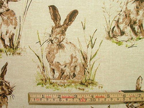 "2 mètres /""lièvres/"" lin naturel look rideau ameublement designer wildlife tissu"