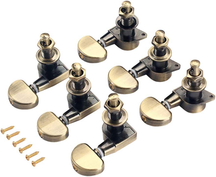 Exceart 6 Piezas Clavijas de Afinación de Cuerdas de Guitarra 3L 3R Sintonizador Perillas de Cabezales con Teclas de Accesorios para Ukelele Guitarra Acústica Eléctrica Marrón