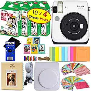 Fujifilm instax Mini 70 Instant Film Camera + Fujifilm instax Mini Instant Film (40 Sheets) + Custom Case + Assorted Frames + Photo Album + 60 Colorful Sticker Frames + HeroFiber