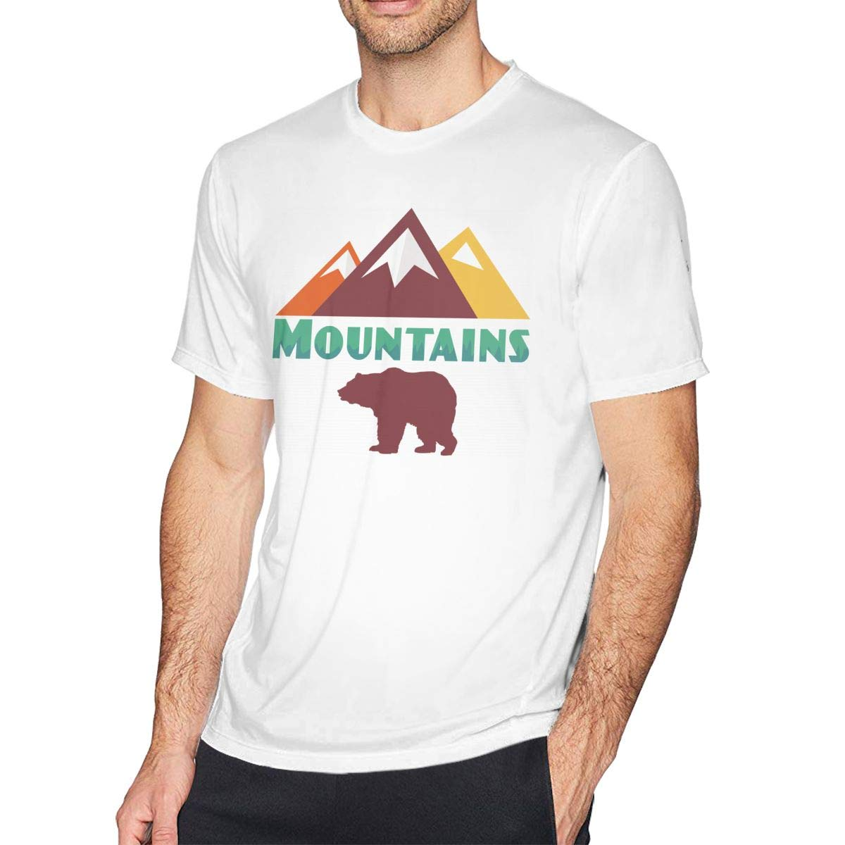 Gonna VVin Mountain Bear Outdoor Casual Shirts for Men New Walking Alone The Horizon T Shirt,Bear Lover T Shirt Loose Comfort Soft White