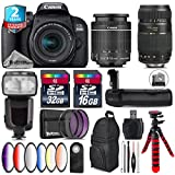 Canon EOS Rebel 800D/T7i Camera + 18-55mm IS STM Lens + Tamron 70-300mm Di LD Macro Lens + Pro Flash + Battery Grip + 6PC Graduated Color Filter Set + 2yr Warranty - International Version