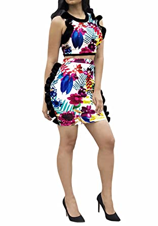 bd2926843fe4e3 Women s Sexy Floral Ruffles Sleeveless 2 Piece Outfits Crop Top and Skirt  1  S
