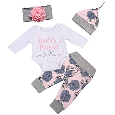 c1f5727f5 BOBORA Baby Girls Daddy's Little Princess Romper + Flowers Pants + Hat + Flower  Headband 4PCs Outfit Set: Amazon.co.uk: Clothing