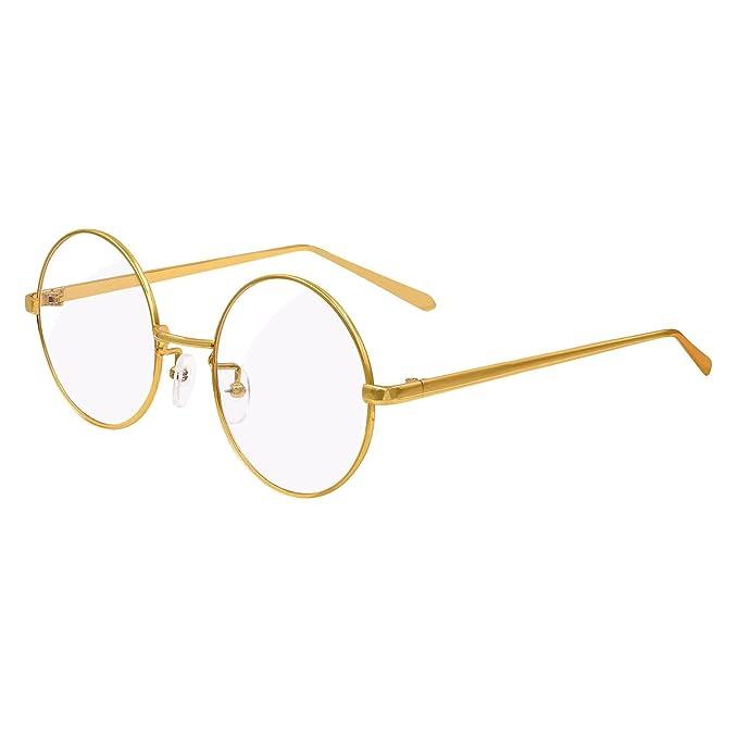 2319d35c9d Hibote Hombres Mujeres Clear Lens Ronda Full Coverage Ultrathin Metal Frame  Gafas de lectura Decoración Geek / Nerd Retro Eyewear Gafas de Oro:  Amazon.es: ...