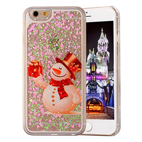 Price comparison product image UCLL Iphone 7 Case, Iphone 7 Liquid Case, Christmas Snowman Elk Santa Claus Design Case for Iphone 7 Cool Quicksand Moving Stars Bling Glitter Flowing Case with a Screen Protector Gold Rose (C)