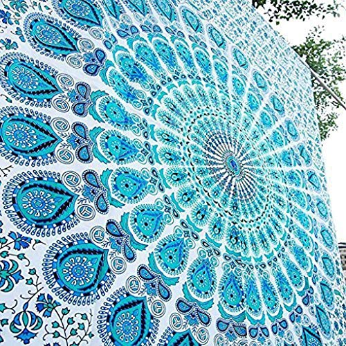 GLOBUS CHOICE INC. Blue Cotton Intricate Floral Designs Indian Traditional Queen Hippie Mandala Picnic Bohemian Boho Tapestry Bedspread Magical Thinking Large Tapestry