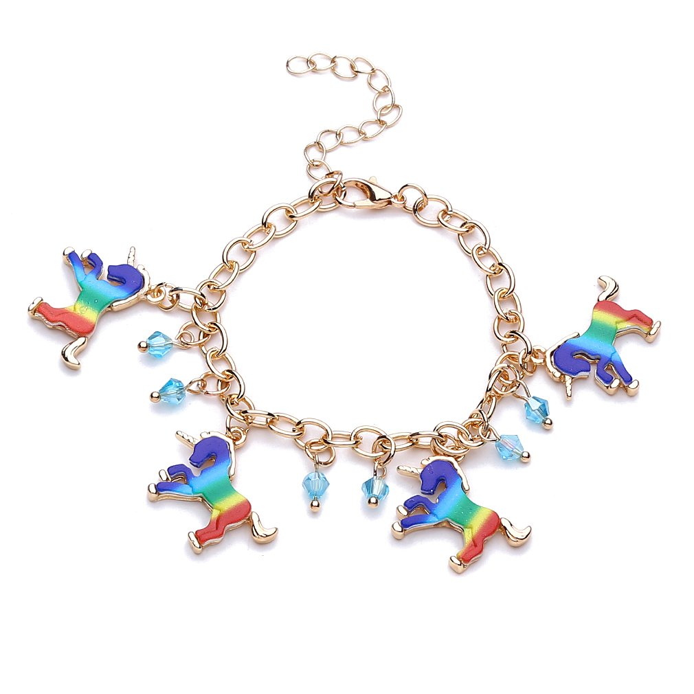 HENGSONG Colorful Unicorn Bracelet Wristband Alloy Bracelet for Kids Children Birthday Party Gifts Mei_mei9 UK76035