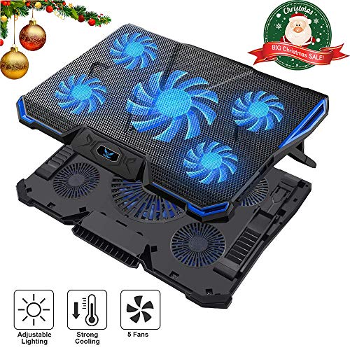 Wsky Laptop Cooler, Ultra Slim 12-18 inch Laptop Cooling Pad with 5 Quiet Fans and Blue LED Light, Dual 2 USB 2.0 Ports, Adjustable Mount Stand Height Angle