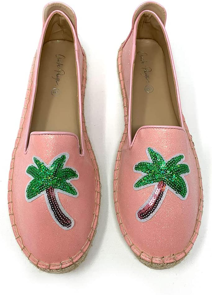 Charlie Paige Espadrilles Shoes - Sequin Palm Tree Slip On Shoes for Women - 2 Assorted Colors