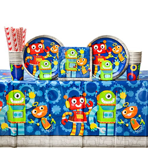 Cedar Crate Market Bundle: Party Robots Birthday Party Supplies Pack for 16 Guests: Straws, Dinner Plates, Luncheon Napkins, Table Cover, and (Birthday Robot)