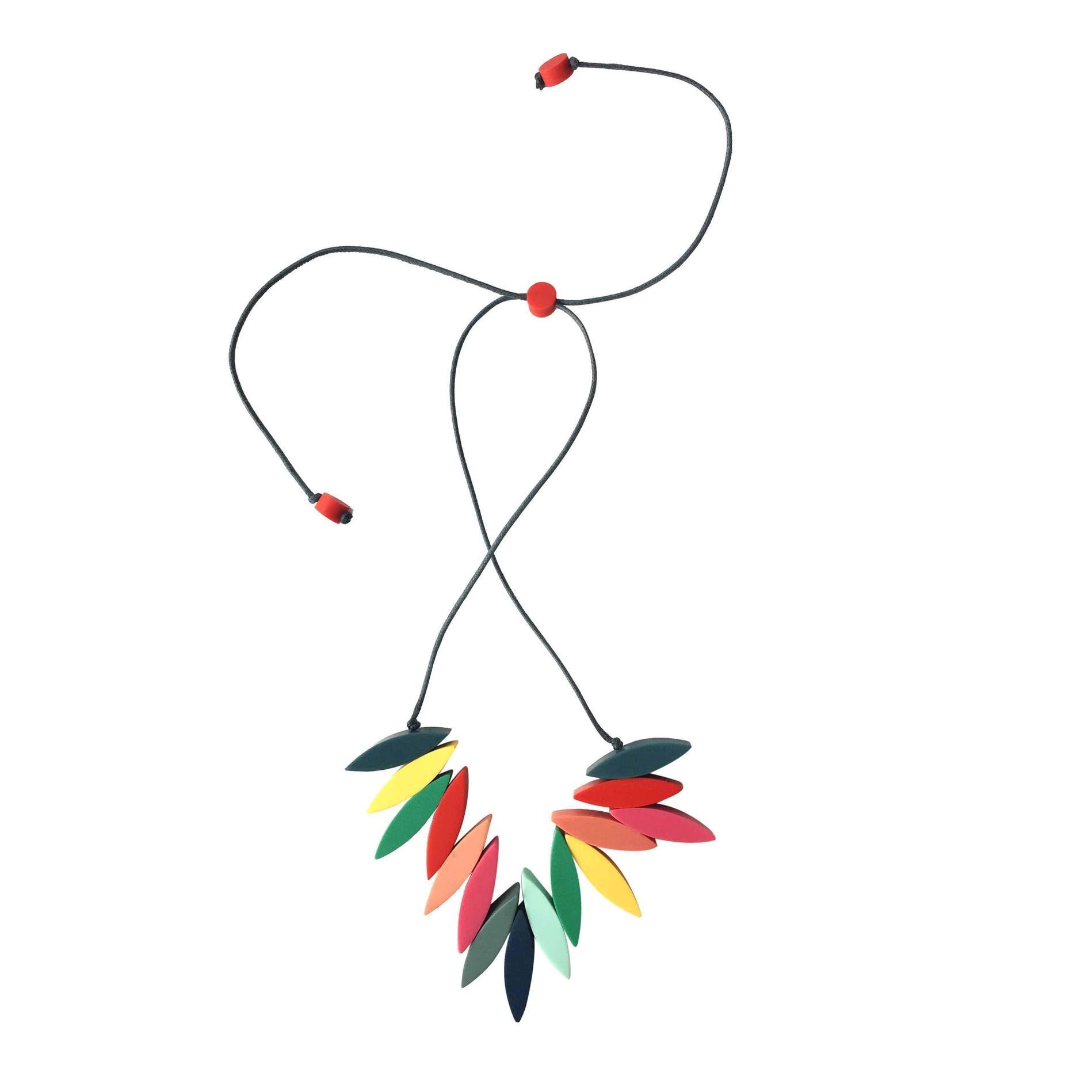 Ruby Olive Women's Hand Poured Resin Multicolored Beaded Fringe Necklace by Ruby Olive