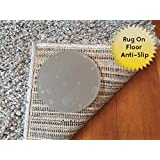 Sticky Discs Non-Slip Rug Pads For RUG-ON-FLOOR Anti-Slip. Rug Stickers. No Residue. 12 Pack Intended To Limit Multiple Rugs or Large Rugs/Exercise/Door Mats From Moving On FLOORS. BRAND NEW!