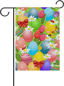 WIHVE Polyester Garden Flag, Colorful Easter Eggs Flower Double Sided Holiday Flag for Party Home Outdoor Decoration 12 x 18 Inches