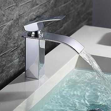 Homelody bad waschbecken armatur chrom wasserfall wasserhahn badarmatur mischbatterie armatur einhebelmischer waschbeckenarmatur waschtischarmatur
