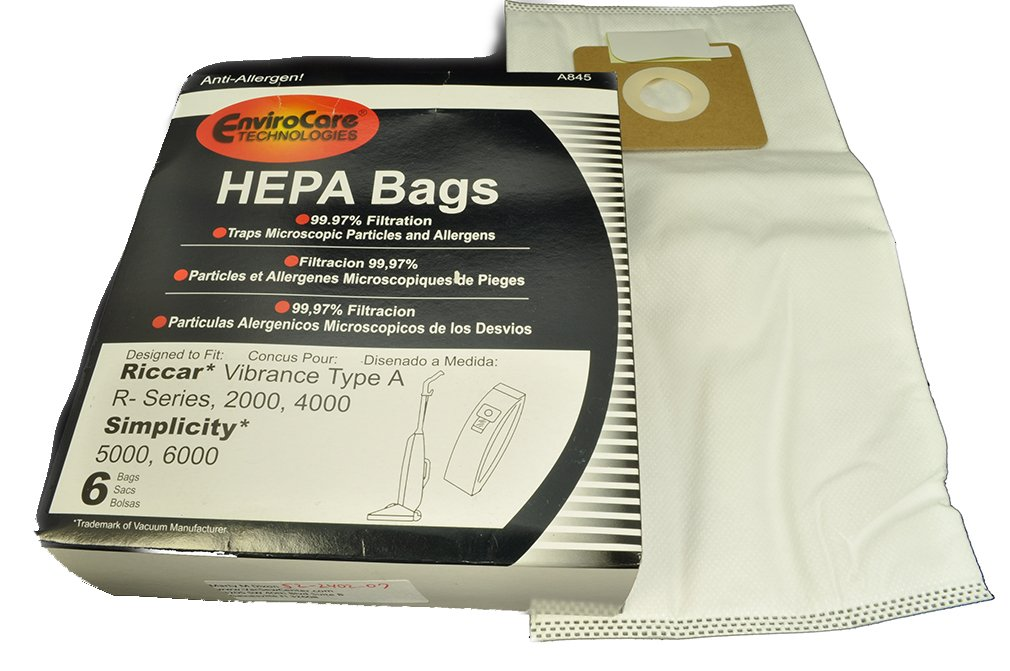 Riccar Vibrance Type A, R- Series 2000, 4000 and Simplicity 5000, 6000 Vacuum Bags