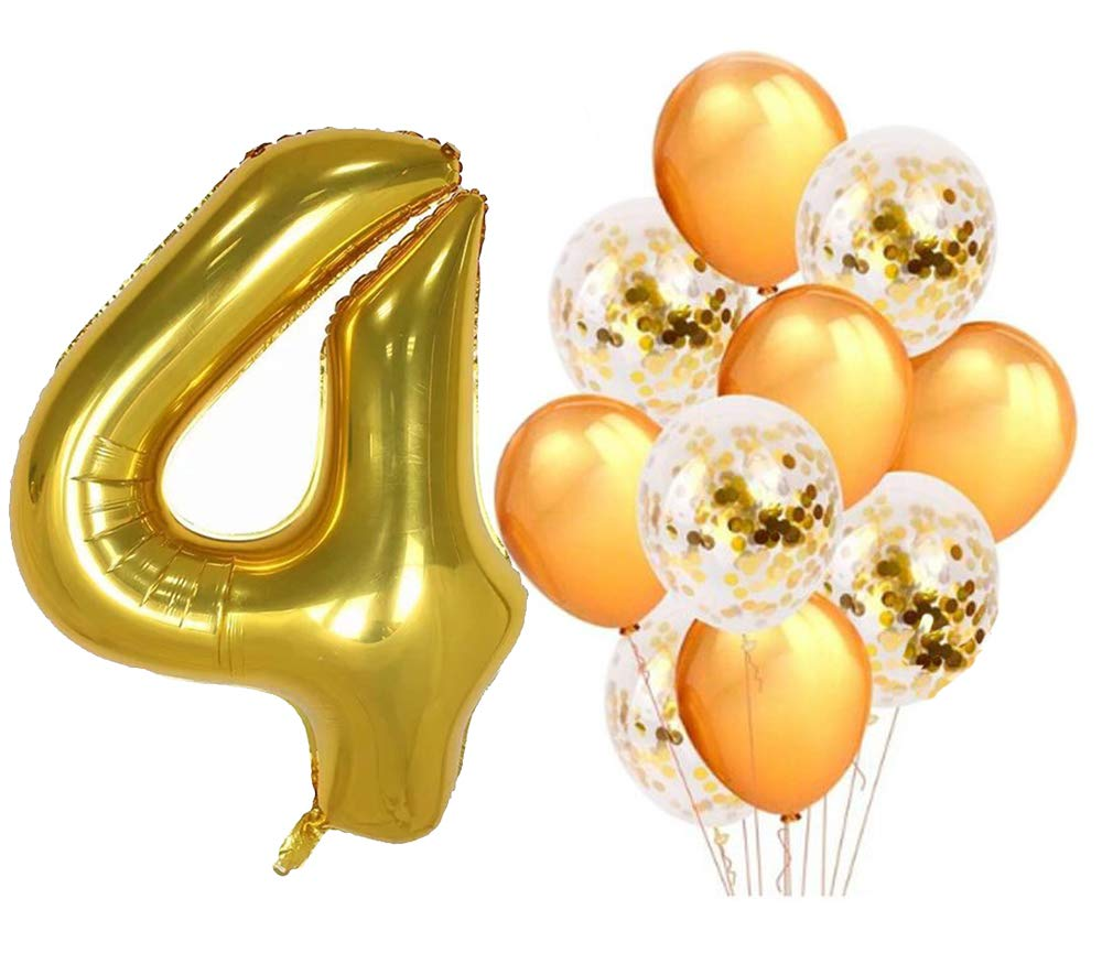 PartyMart Gold Number 0 Balloons Gold Confetti Balloon