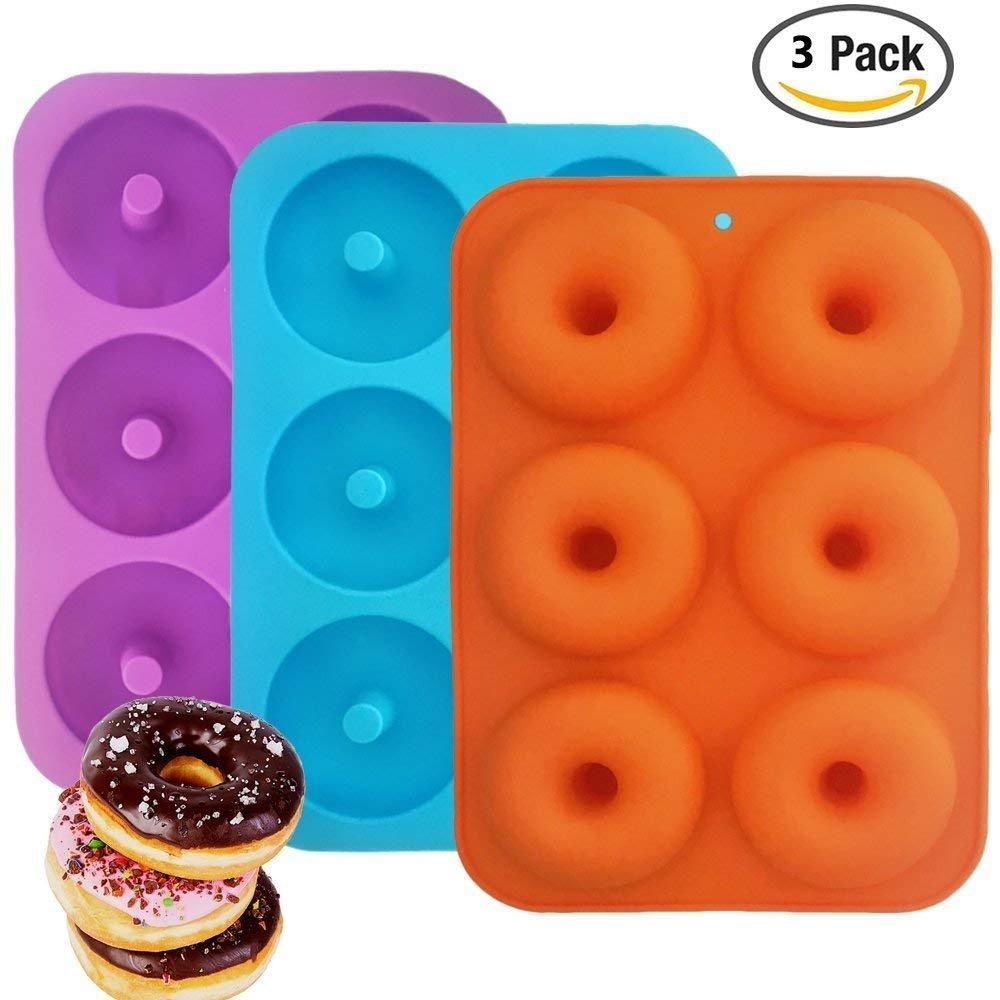 xutong Molde de Silicona para Hornear Donut, Hace 6 Donuts Antiadherente, sin BPA, Molde de Donut, Tazas de Magdalenas, Anillo para Hornear Tartas, ...