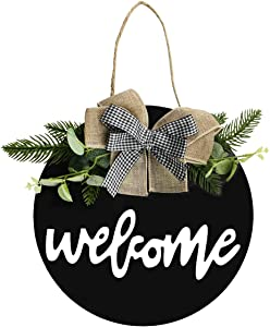 Front door welcome sign decorations hanging, 12inch outdoor welcome wreath sign for front door wall porch window farmhouse home decor, suitable for outdoor, indoor, holiday, xmas, and all season.Free 2 cute hooks