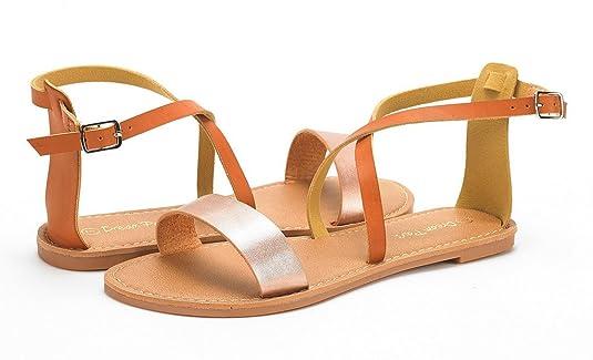 76835811c16d Dream Pairs CROX New Women Open Toe Fashion Crisscross Valcre Ankle Straps  Summer Design Flat Sandals  Amazon.co.uk  Shoes   Bags