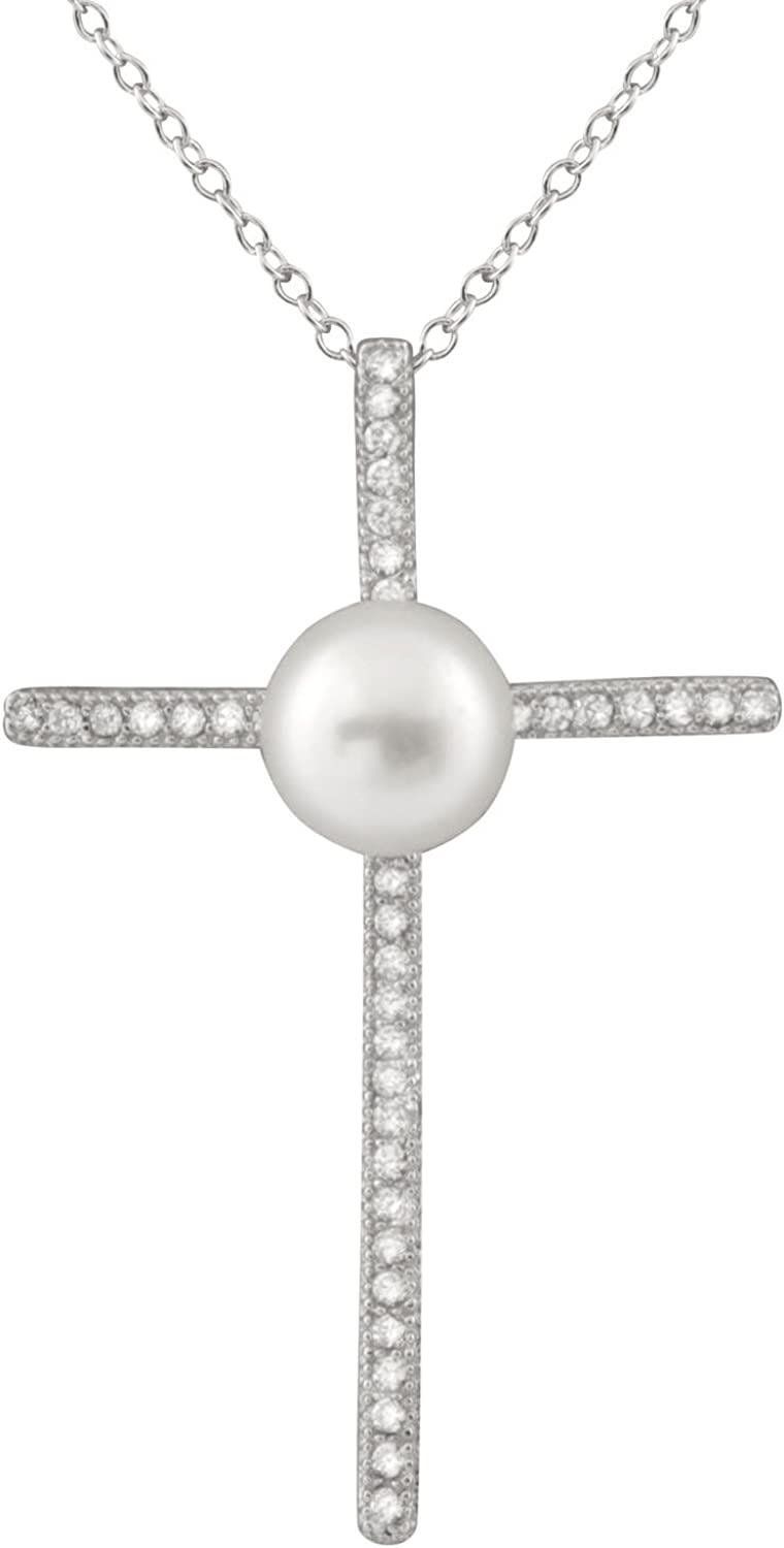 Handpicked AA Sterling Silver Rhodium-Plated Pendant//Chain Freshwater Cultured Pearls CZ 17 Chain